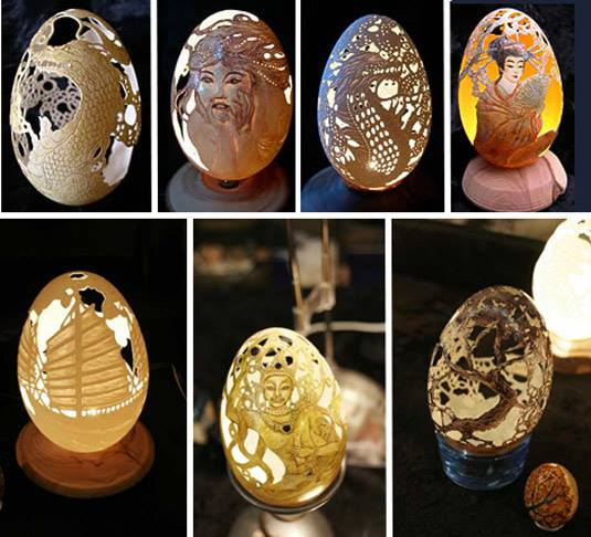 egg shells sculptures by christel assante